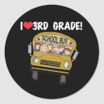 School Bus Love 3rd Grade Sticker