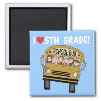 School Bus Love 5th Grade Tshirts and Gifts Magnets
