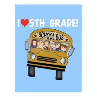 School Bus Love 5th Grade Tshirts and Gifts Postcard
