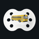 """School Bus Pacifier<br><div class=""""desc"""">Our big yellow school bus is taking the kids to school.  Great design for back to school projects or shirt design for the bus drivers.</div>"""