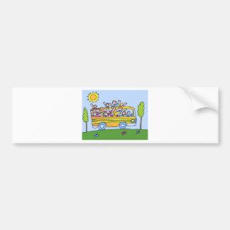 School Bus Riders Cartoon Bumper Sticker