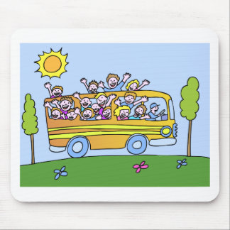 School Bus Riders Cartoon Mouse Pad