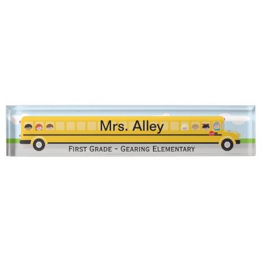 School Bus Teacher Name Plate Zazzle