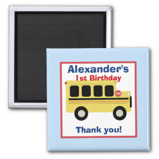 School Bus Town Birthday Favor Magnet