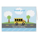 School Bus Town Birthday Thank you Card