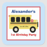 School Bus Town Square Favor Stickers (6 Large) Square Stickers