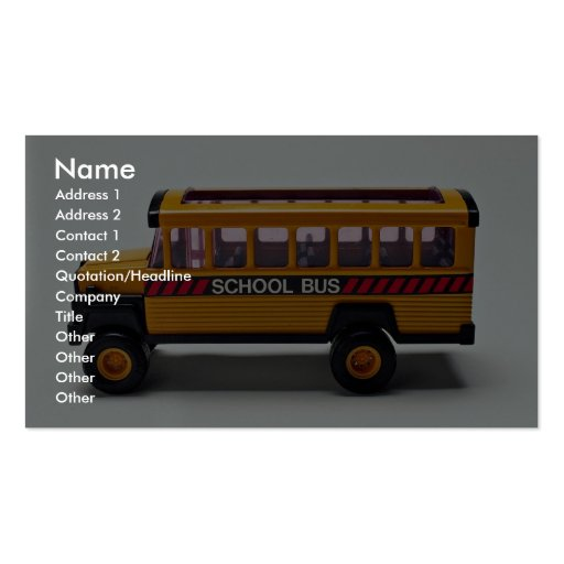 school bus toy for kids double sided standard business cards pack of 100 zazzle. Black Bedroom Furniture Sets. Home Design Ideas