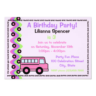 School Bus Wheels Pink 5x7 Paper Invitation Card