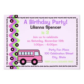 School Bus Wheels Pink Card