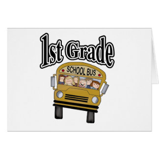 School Bus with Kids 1st Grade Card