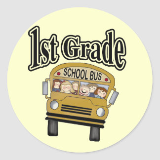 School Bus with Kids 1st Grade Tshirts and Gifts Classic Round Sticker