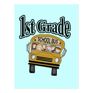 School Bus with Kids 1st Grade Tshirts and Gifts Postcard