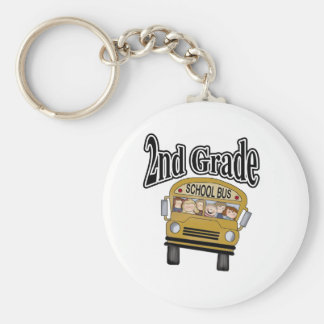 School Bus with Kids 2nd Grade Key Chains