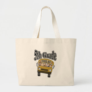 School Bus with Kids 5th Grade Large Tote Bag
