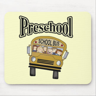 School Bus with Kids Preschool Tshirts and Gifts Mouse Mats