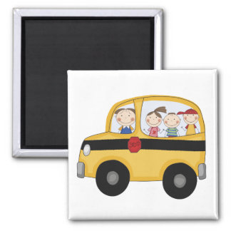 School Bus with Kids T-shirts and Gifts 2 Inch Square Magnet