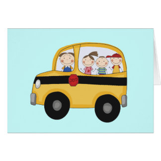 School Bus with Kids T-shirts and Gifts Card