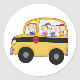 School Bus with Kids T-shirts and Gifts Classic Round Sticker