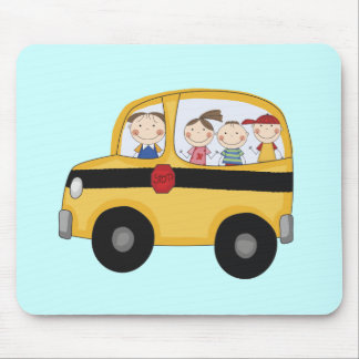 School Bus with Kids T-shirts and Gifts Mouse Mat