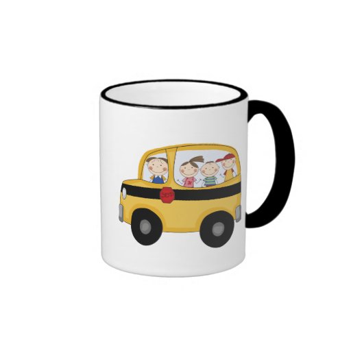 School Bus with Kids T-shirts and Gifts Coffee Mugs