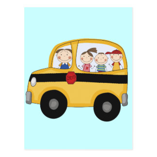 School Bus with Kids T-shirts and Gifts Postcard