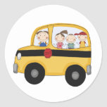 School Bus with Kids T-shirts and Gifts Round Stickers