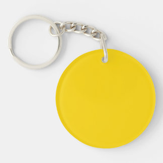School Bus Yellow Solid Color Double-Sided Round Acrylic Keychain