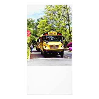 School Buses At Stop Sign In Spring Card