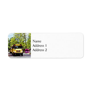 School Buses At Stop Sign In Spring Label