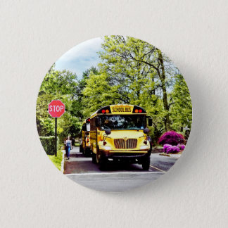 School Buses At Stop Sign In Spring Pinback Button