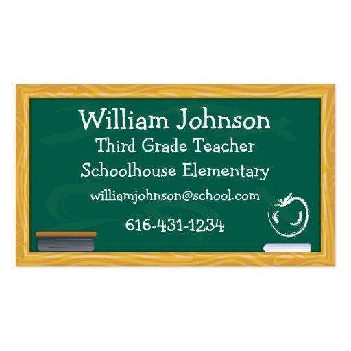 School Chalkboard Teacher Business Card