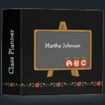 """School Chalkboard Teacher&#39;s Binder<br><div class=""""desc"""">Fun teacher&#39;s class organizer binder done in black, with whimsical graphics of a old fashioned chalk board decorating the front. A pretty apple garland decorates the bottom of the binder all the way around, and three red apples with ABC on them decorates the back cover. White text, on the spine...</div>"""