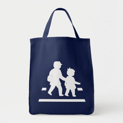 School Children Crossing >> Japanese Traffic Sign Grocery Tote Bag
