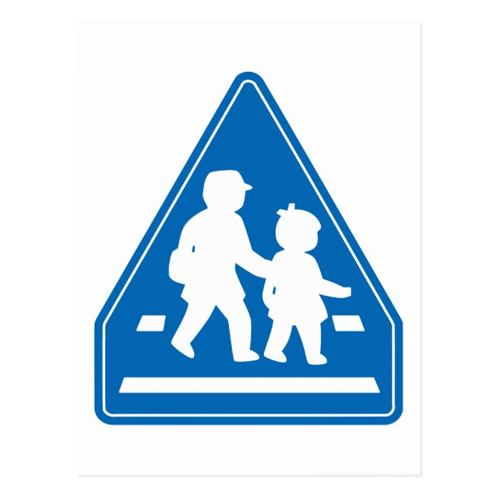 School Children Crossing >> Japanese Traffic Sign Postcard