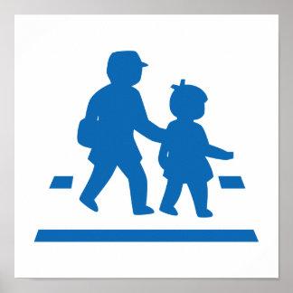 School Children Crossing >> Japanese Traffic Sign Poster
