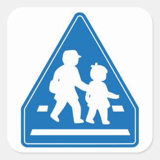 School Children Crossing >> Japanese Traffic Sign Square Sticker