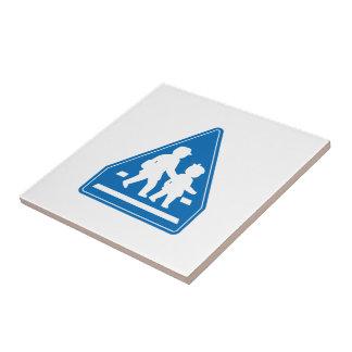 School Children Crossing >> Japanese Traffic Sign Tile