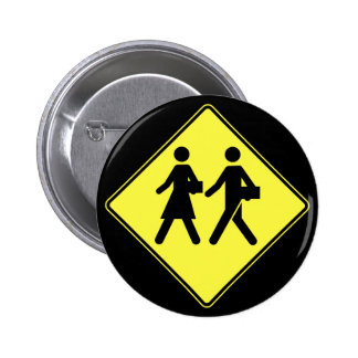 School Children Crossing, Traffic Sign, Canada Button