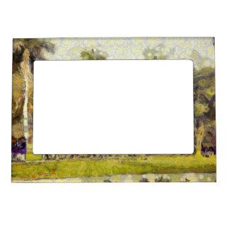 School children in a garden photo frame magnets
