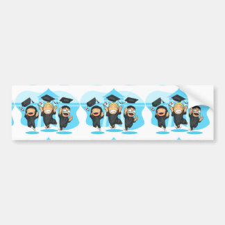 School-College Graduation Cartoon Bumper Sticker