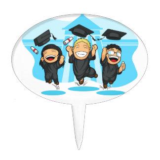 School-College Graduation Cartoon Cake Topper