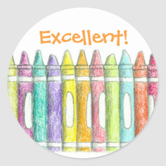 School Color Crayons Excellent Work Motivational Classic Round Sticker