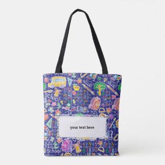 School colorful pattern tote bag