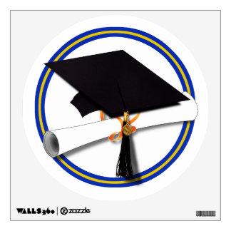 School Colors Blue & Gold Grad Cap w/Diploma Wall Stickers
