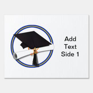 School Colors Blue & Gold Grad Cap w/Diploma Yard Sign