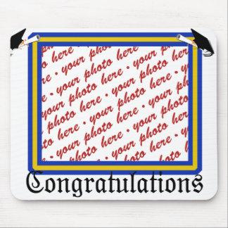 School Colors  Blue & Gold Graduation Frame Mouse Pad