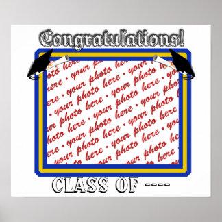 School Colors  Blue & Gold Graduation Frame Poster