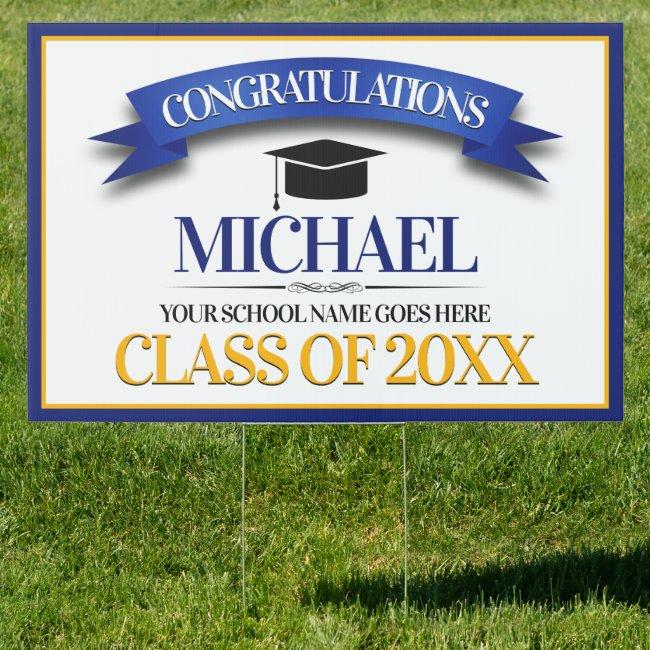 School Colors Congratulations Graduation Lawn Sign