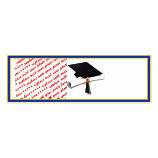 School Colors Gold & Blue Photo Frame Double-Sided Mini Business Cards (Pack Of 20)