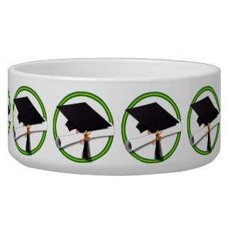 School Colors Green & Gold Grad Cap w/Diploma Bowl